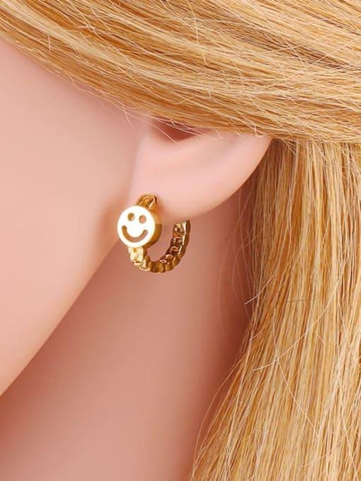 CC Brass Smiley Vintage Huggie Earring 1