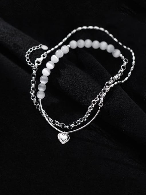 Rosh 925 Sterling Silver Bead Geometric Minimalist Strand Bracelet 0