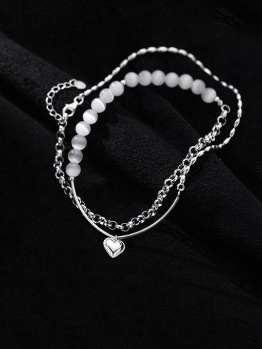 Rosh 925 Sterling Silver Bead Geometric Minimalist Strand Bracelet