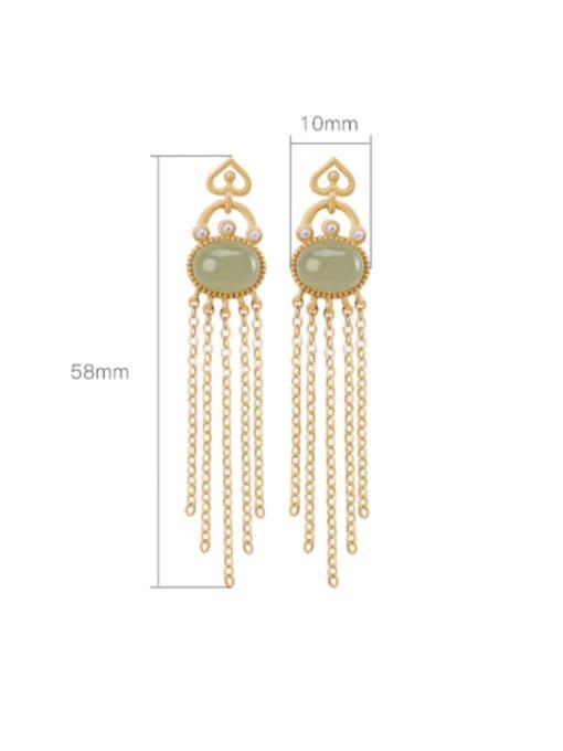 DEER 925 Sterling Silver Jade Tassel Vintage Drop Earring 3