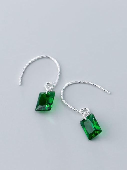 Rosh 925 Sterling Silver Glass Stone Geometric Minimalist Hook Earring 3