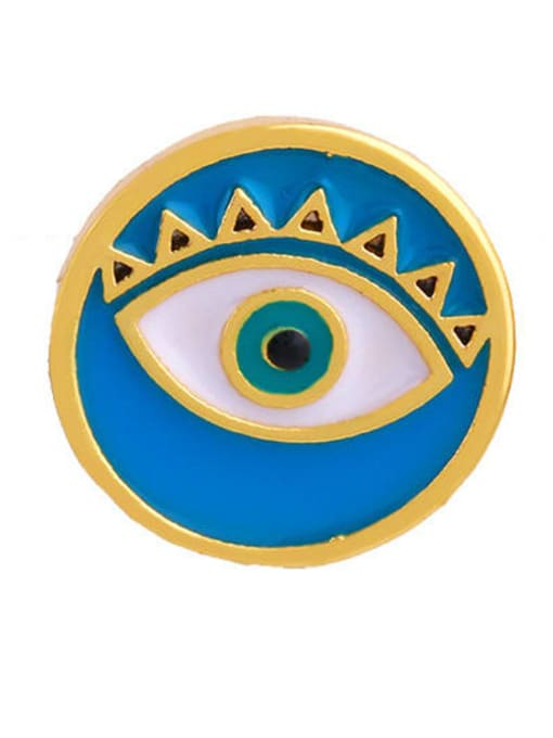 blue Brass Enamel Evil Eye Ethnic Stud Earring