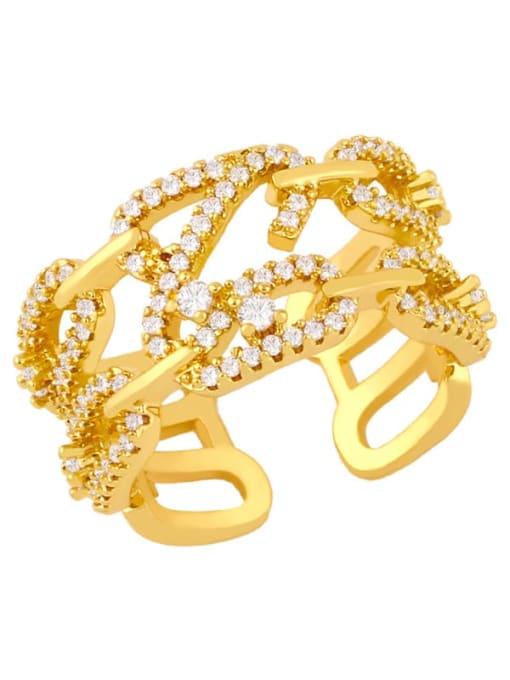 gold Brass Cubic Zirconia Irregular Ethnic Band Ring