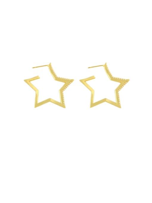 CC Brass Hollow Star Heart Minimalist Huggie Earring 1