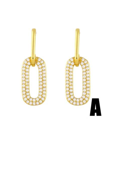 A Brass Cubic Zirconia Geometric Vintage Drop Earring