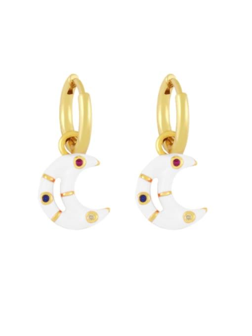 CC Brass Enamel Moon Hip Hop Huggie Earring 3