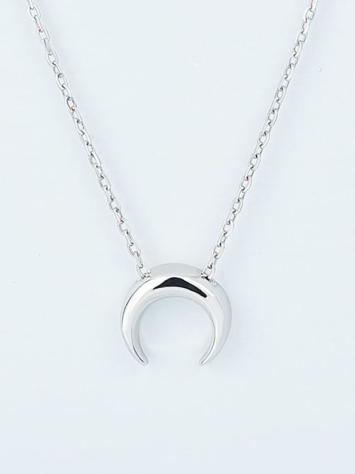 Platinum 925 Sterling Silver  Smooth Moon Minimalist Necklace