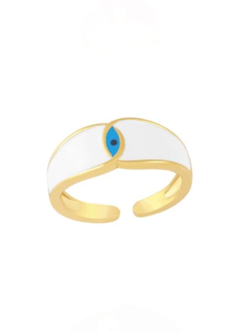 white Brass Enamel Evil Eye Minimalist Band Ring