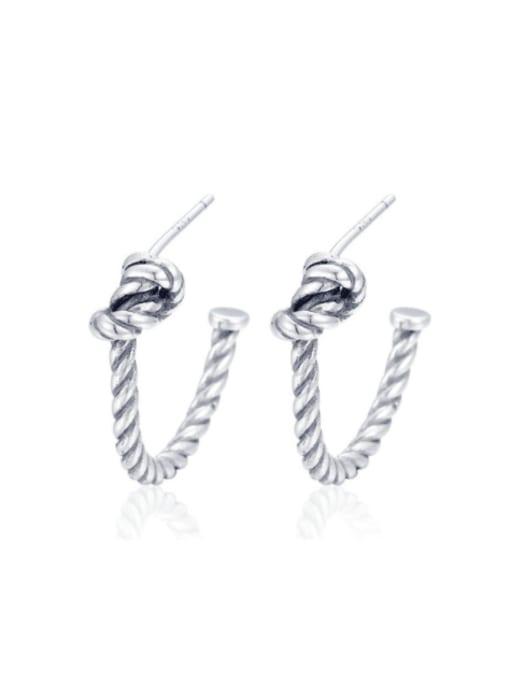 Boomer Cat 925 Sterling Silver Twist knot Vintage Stud Earring 0
