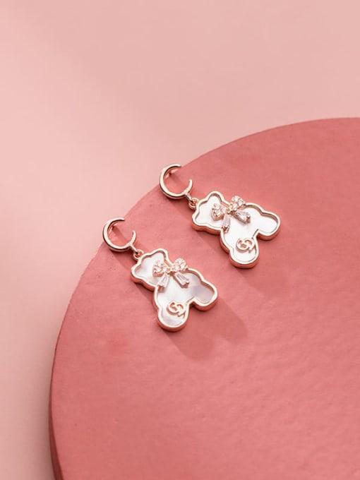 Rosh 925 Sterling Silver Shell Bear Minimalist Stud Earring 1