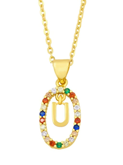 U Brass Cubic Zirconia Letter Vintage Oval Pendant Necklace