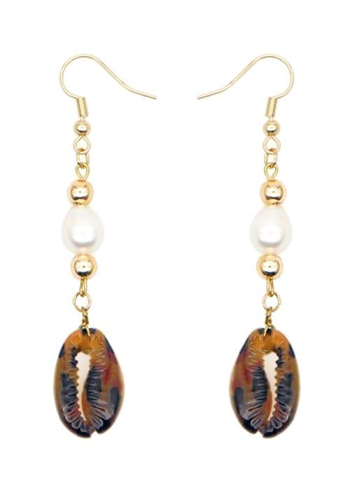ZZ E200052B Stainless steel Freshwater Pearl Irregular Ethnic Long Hook Earring