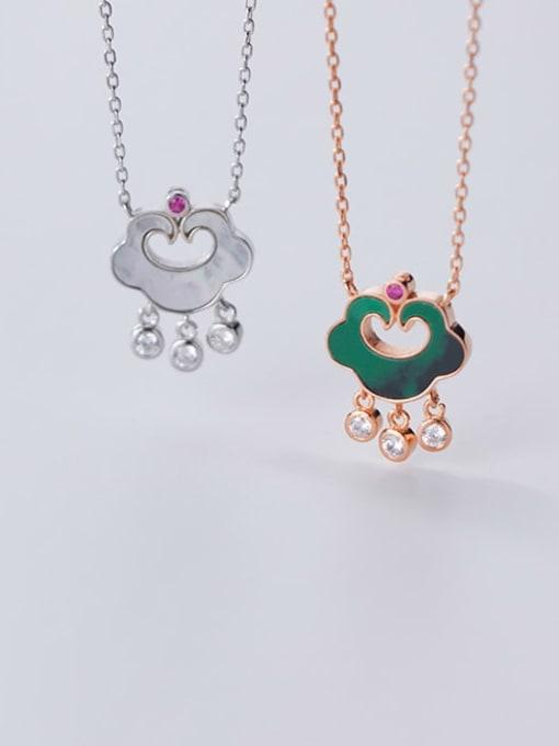 Rosh 925 Sterling Silver Enamel Cloud Vintage Necklace 1