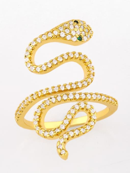CC Brass Cubic Zirconia Snake Vintage Band Ring 0