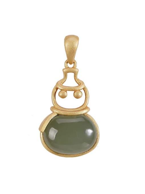 DEER 925 Sterling Silver Jade Vintage Irregular Pendant