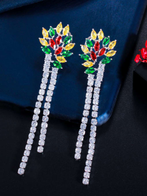 Platinum color Brass Cubic Zirconia Tassel Luxury Drop Earring