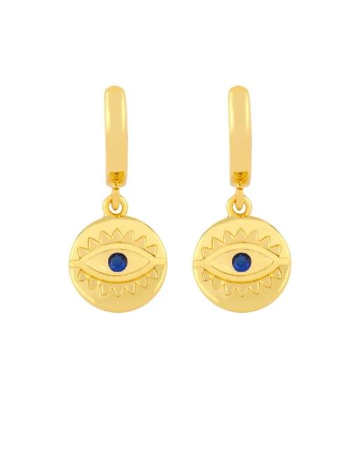 B Brass Cubic Zirconia Evil Eye Dainty Huggie Earring
