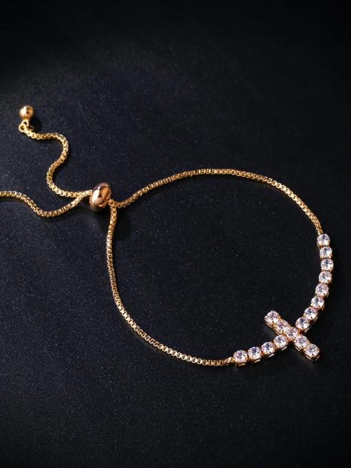 CC Brass Cubic Zirconia Cross Vintage Adjustable Bracelet 2