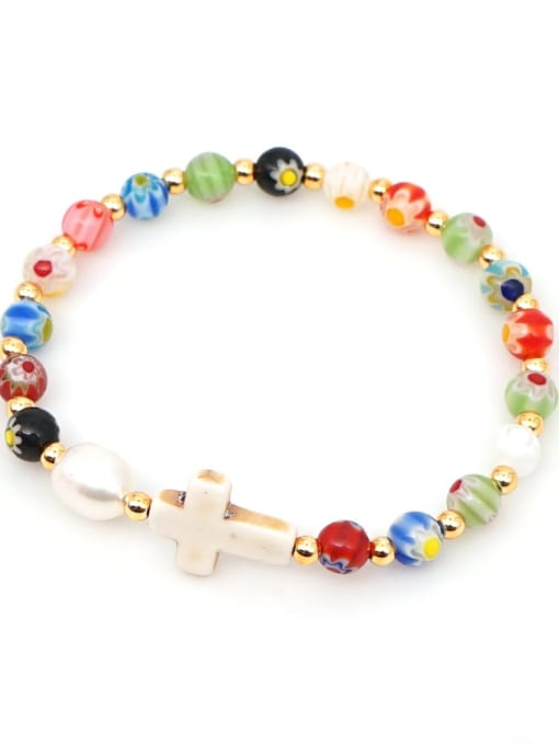 B B200028E Stainless steel Glass Bead Multi Color Cross Bohemia Beaded Bracelet