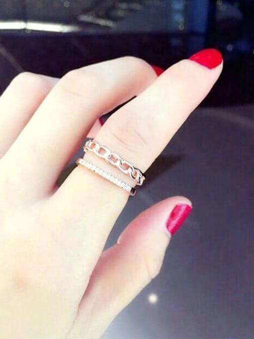 rose gold Titanium Steel Rhinestone Irregular Minimalist Stackable Ring