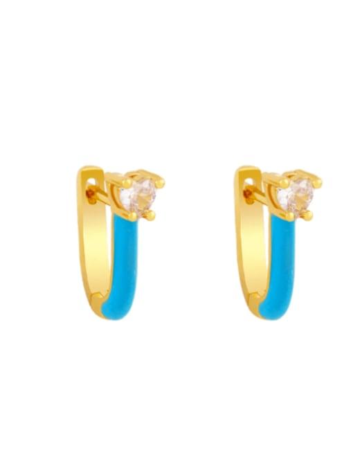 Light blue Brass Multi Color Enamel Heart Vintage Huggie Earring