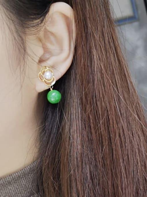 RAIN Brass Imitation Pearl Flower Cute Drop Earring 1