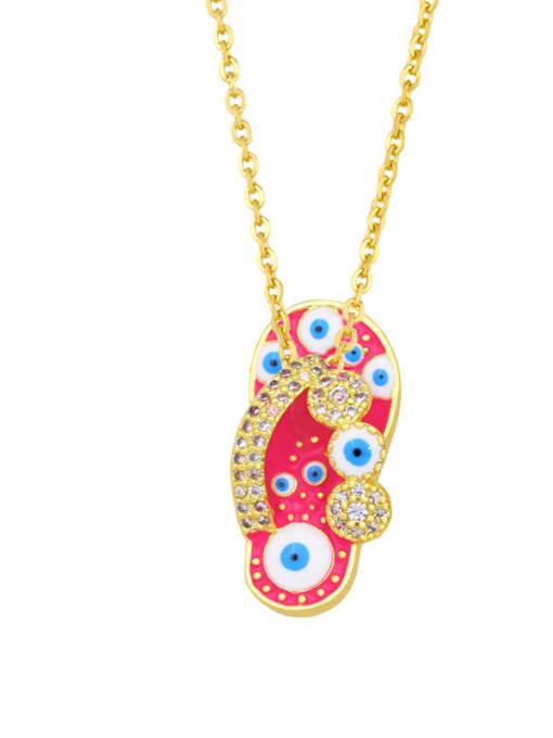A (Rose) Brass Cubic Zirconia Enamel Evil Eye Hip Hop Necklace