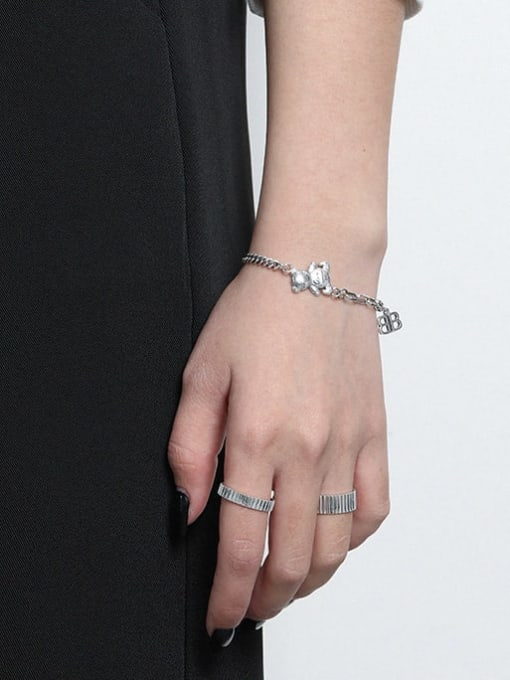 DAKA 925 Sterling Silver Bear Vintage Hollow Chain Link Bracelet 2