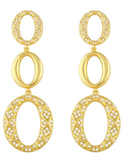 CC Brass Cubic Zirconia Oval Vintage Drop Earring