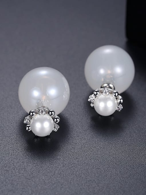 White t05a13 Copper Imitation Pearl Round Minimalist Stud Earring