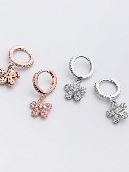Rosh 925 Sterling Silver Rhinestone Flower Dainty Huggie Earring 3