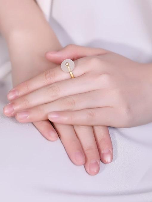 DEER 925 Sterling Silver Jade Round Vintage Band Ring 1