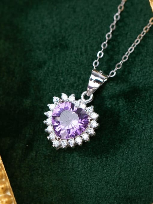 Pendant love (without chain) 925 Sterling Silver Amethyst Dainty  Heart Pendant