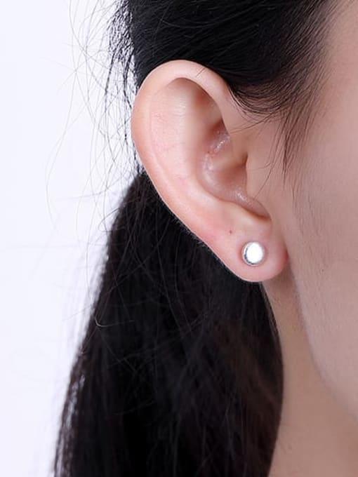 DEER 925 Sterling Silver Round Vintage Stud Earring 1