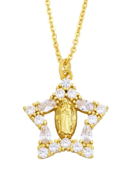 CC Brass Cubic Zirconia Heart Hip Hop Regligious Necklace 2