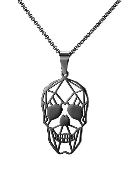 1748 black plated steel necklace Titanium Steel Hollow Skull Hip Hop Necklace
