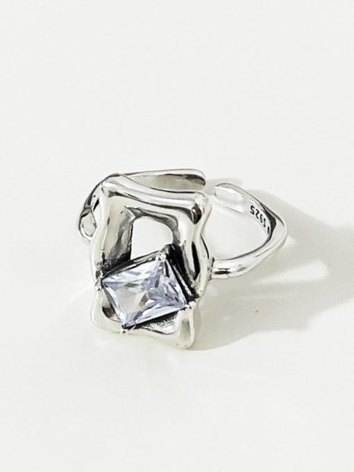 Ring of mirrors j1633 925 Sterling Silver Glass Stone Geometric Vintage Band Ring