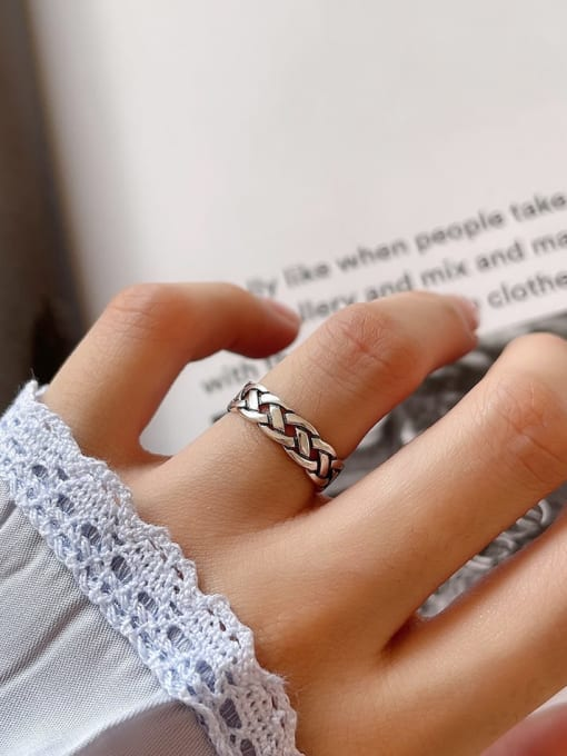 Woven ring j42 1.7g 925 Sterling Silver Irregular Vintage Band Ring