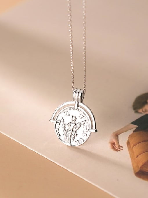 Rosh 925 Sterling Silver Retro glossy English round portrait silver medal Necklace 2