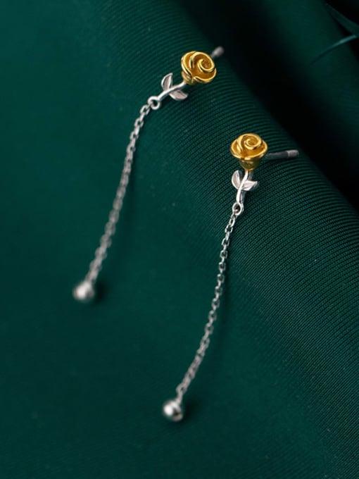 Rosh 925 Sterling Silver Flower Cute Threader Earring 1