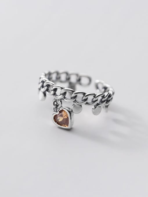 Rosh 925 Sterling Silver Cubic Zirconia Heart Vintage Band Ring 3