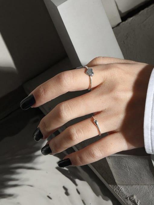 DAKA 925 Sterling Silver Heart Minimalist Band Ring 2