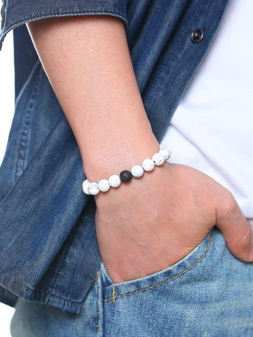 CONG Stainless steel Bead Geometric Vintage Beaded Bracelet 2