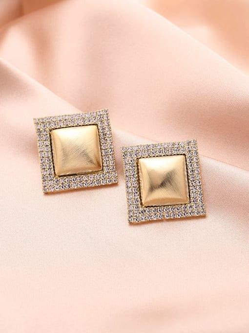 Luxu Brass Cubic Zirconia Geometric Trend Stud Earring 2