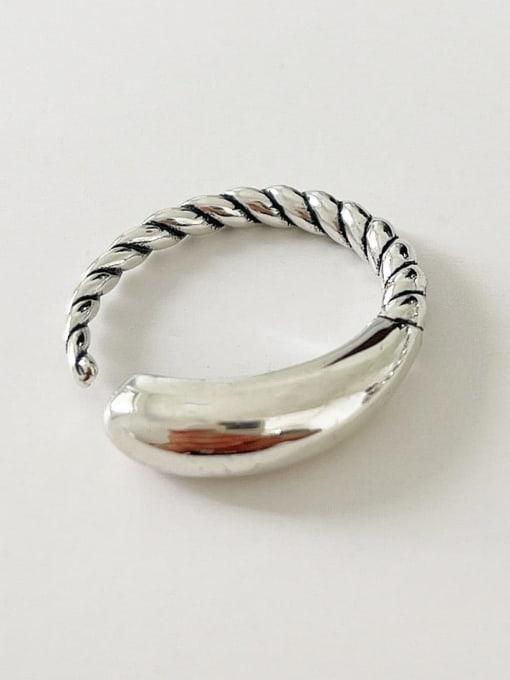 Hemp rope ring j1577 3G 925 Sterling Silver Twist Irregular Vintage Band Ring
