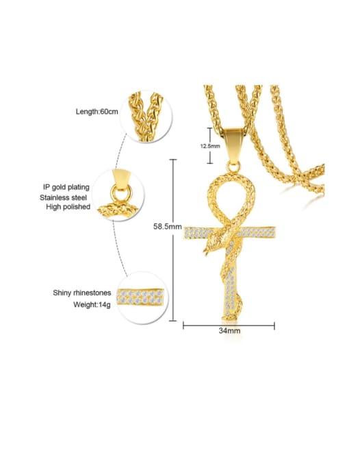 CONG Titanium Steel Rhinestone Cross Vintage Necklace 3