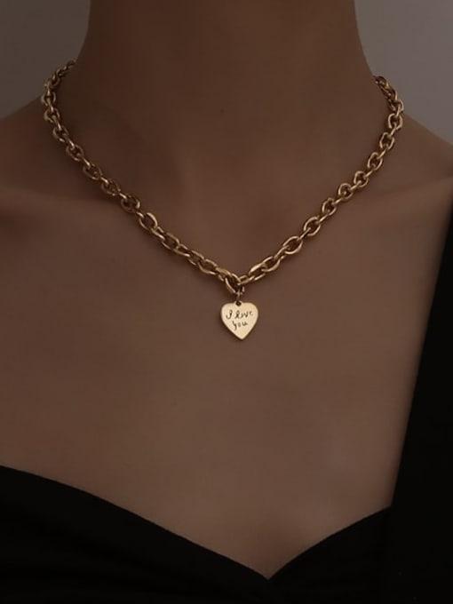 A TEEM Titanium Steel Heart Vintage Geometric  Chain Necklace 3
