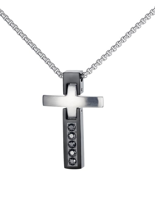 1751 Pendant Chain Titanium Steel Cubic Zirconia Cross Hip Hop Regligious Necklace