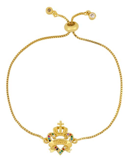brc29 B Brass Cubic Zirconia Letter Vintage Adjustable Bracelet