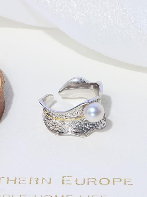 RAIN Brass Freshwater Pearl Irregular Vintage Band Ring 2